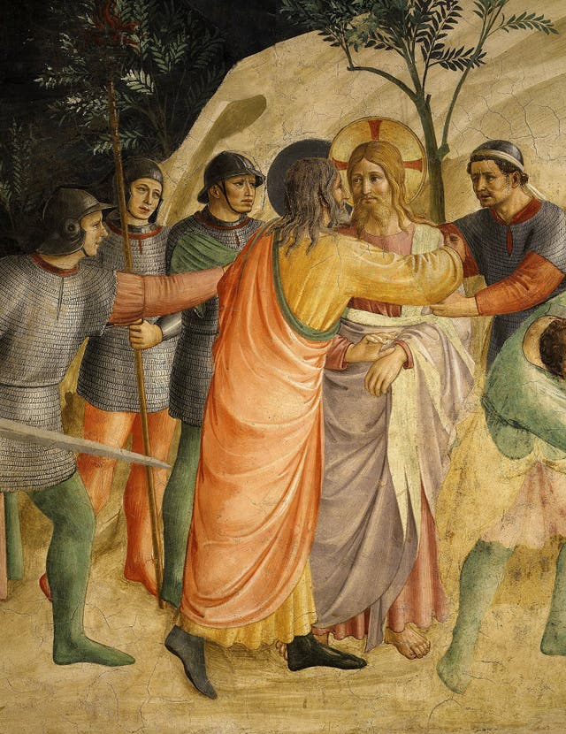 The arrest of Jesus and Judas's Kiss, in a 1437 fresco that hangs in the Convent of San Marco, Florence