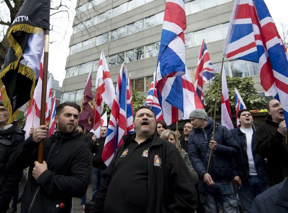 Far-right protesters gather outside the London Central Mosque and Islamic Cultural Centre in London.
