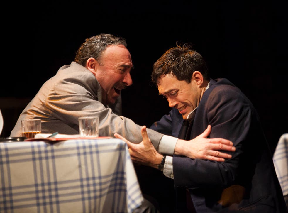 Antony Sher and Alex Hassell as Willy Loman and Biff in Death of a Salesman