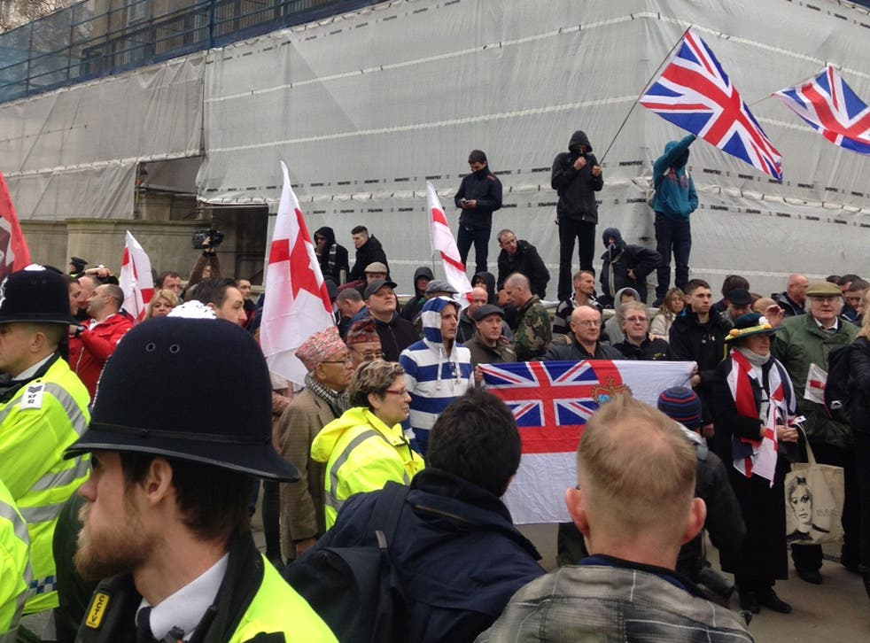 Pegida UK protesters were met by counter-demonstrators from anti-fascist groups near Downing Street on 4 April