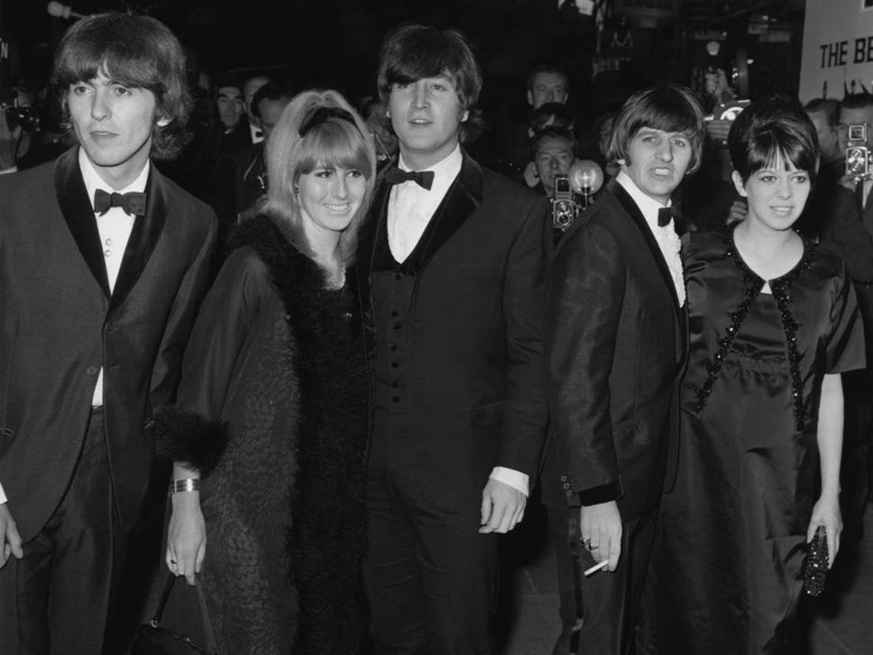 John And Cynthia Lennon Centre Arrive At The 1965 London Premiere Of Beatles
