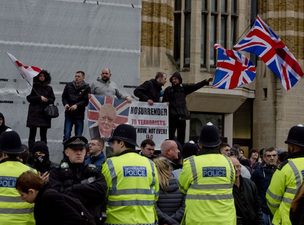 Supporters of the British offshoot of the anti-Islamist movement Pegida hold a demonstration on Whitehall, London