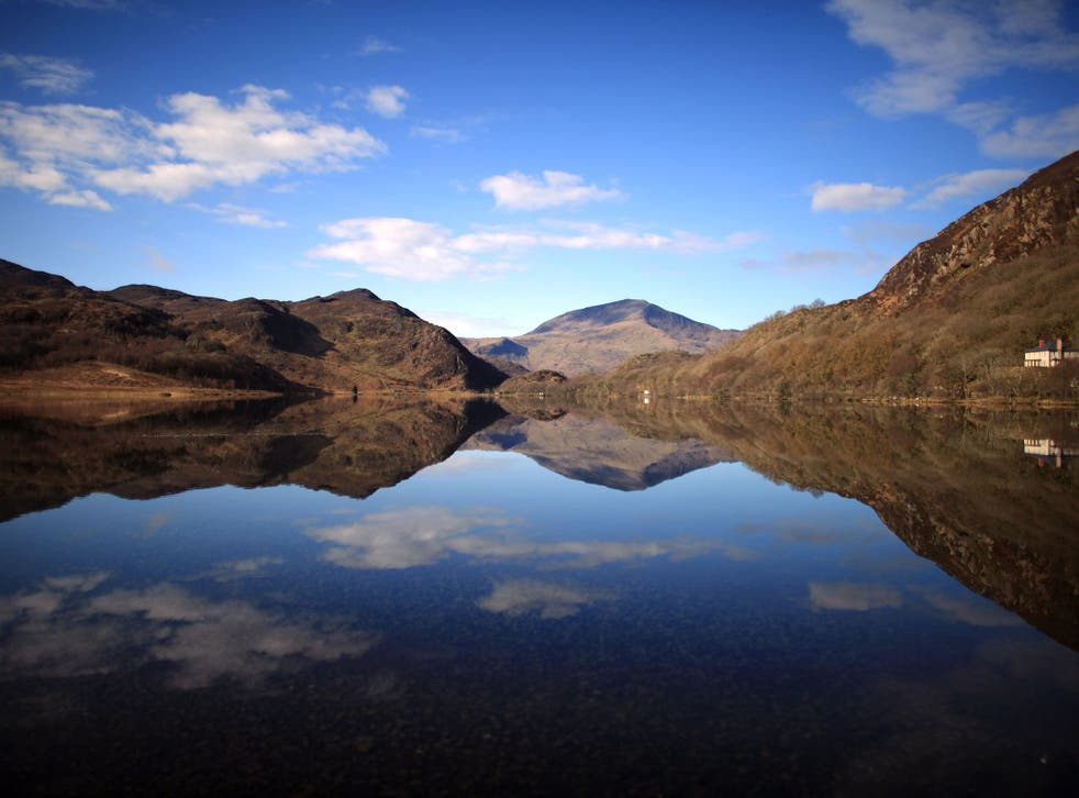 A view of tranquil Llyn Dinas in Snowdonia National Park
