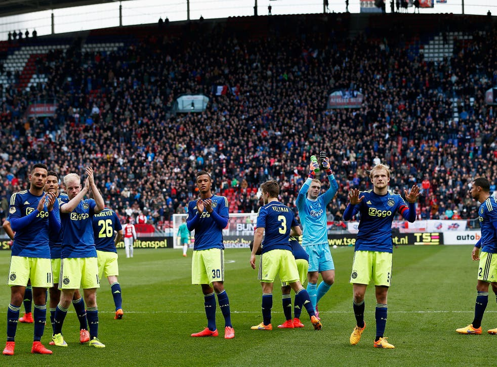 Ajax players applaud their fans after the Dutch Eredivisie match against FC Utrecht on Sunday which was marred by anti-Semitic chanting