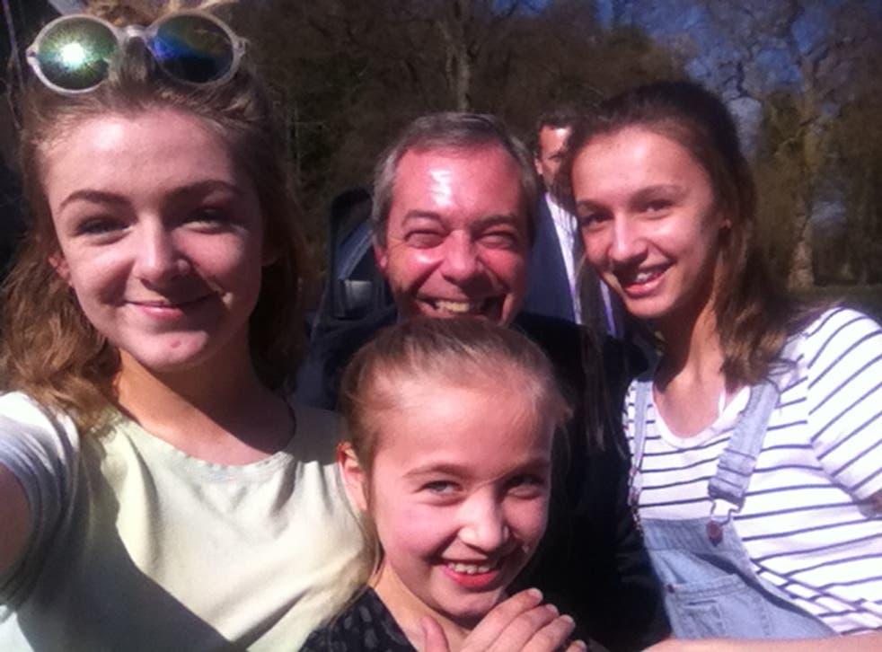 Selfie with Nigel: Charlotte, Sophie and her sister Chloe meet their hero Nigel Farage
