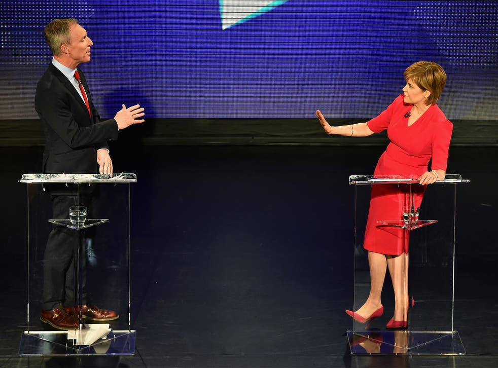 Scottish Labour leader Jim Murphy clashes with First Minister and SNP leader Nicola Sturgeon during the debate in Edinburgh