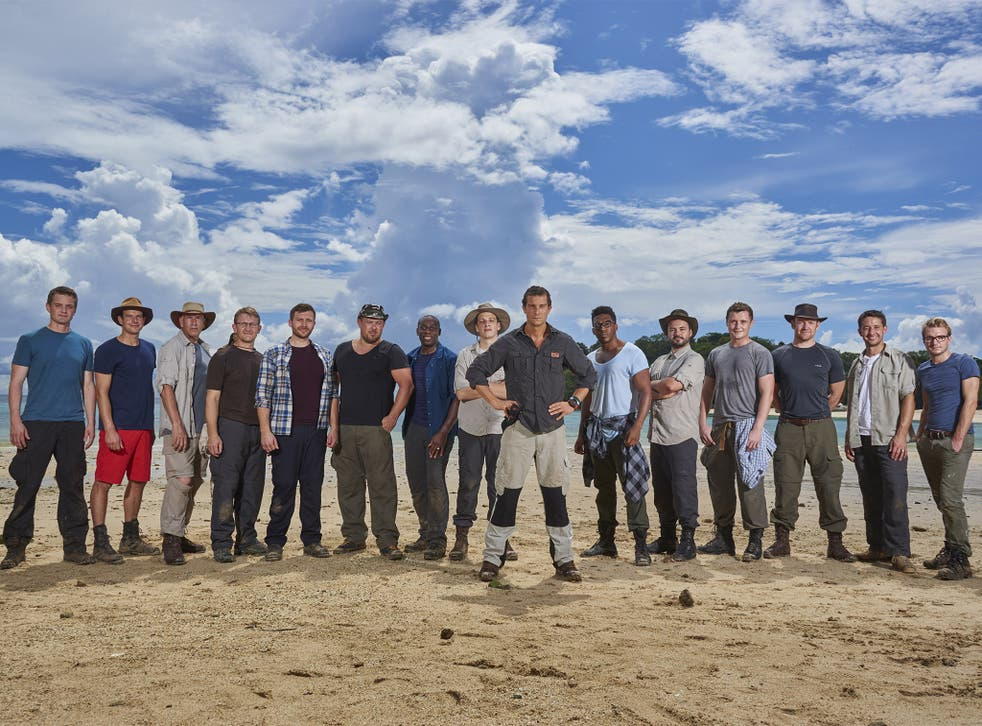 Paradise lost: Bear Grylls, centre, and the male team on their Pacific island