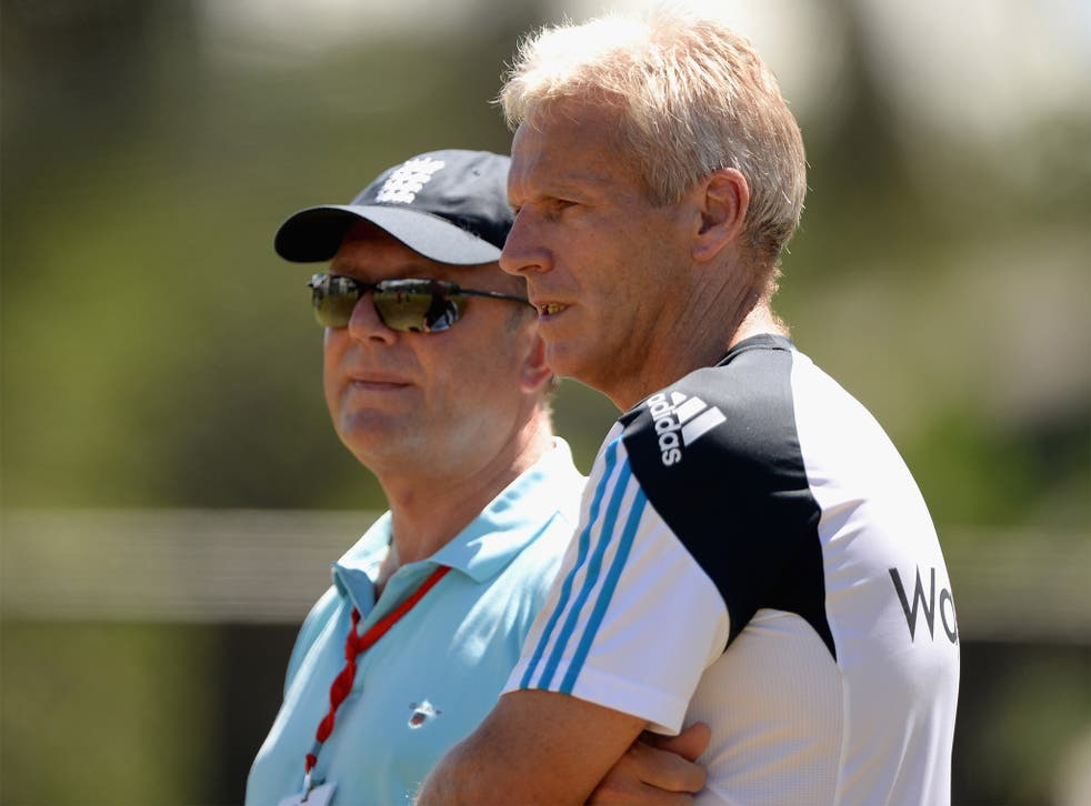Paul Downton with Peter Moores (right) in Sri Lanka last year
