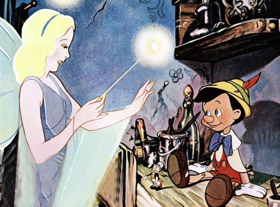 The Blue Fairy and Pinocchio in Disney's original 1940 animated film