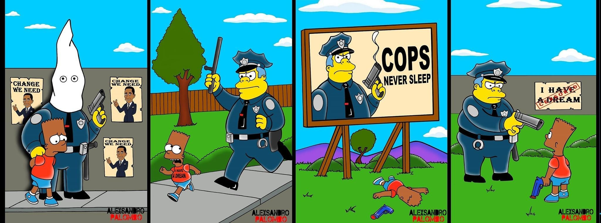 The Simpsons Turn Black For Artist S Hard Hitting Response