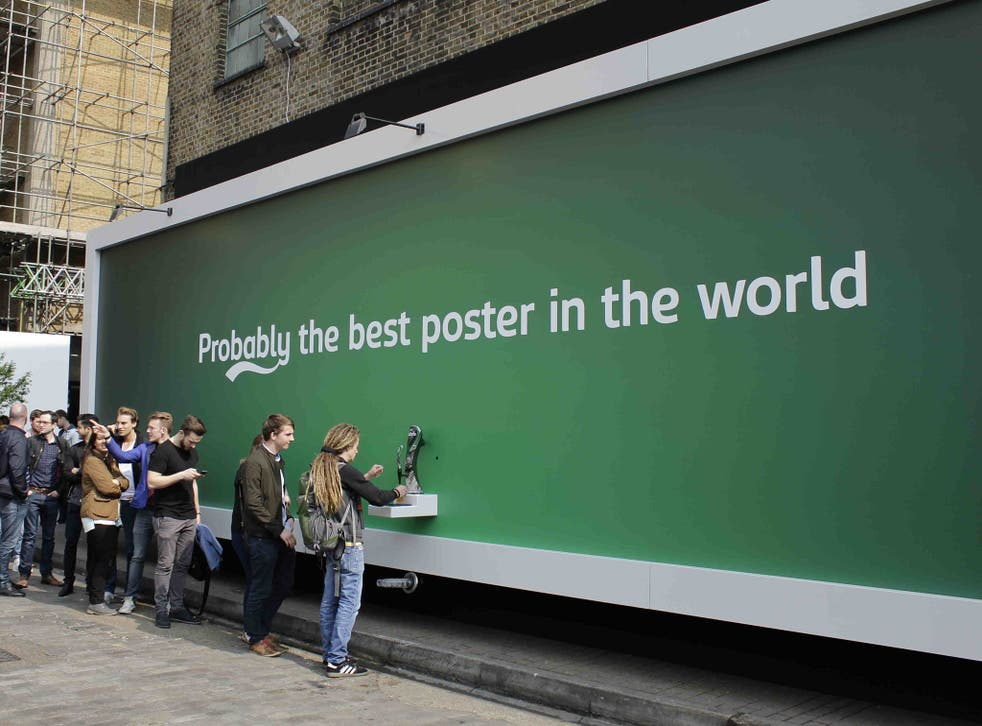 Here for the beer: the Carlsberg advertising stunt in Brick Lane, east London, drawing a crowd