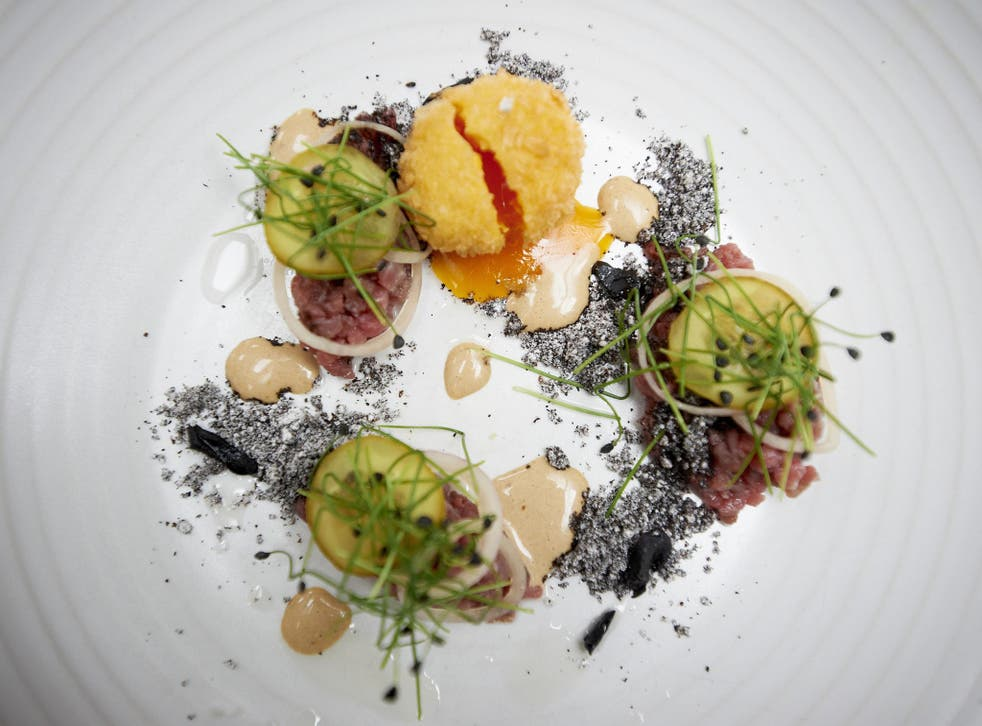 Jamie Clinton's steak tartare with charcoal