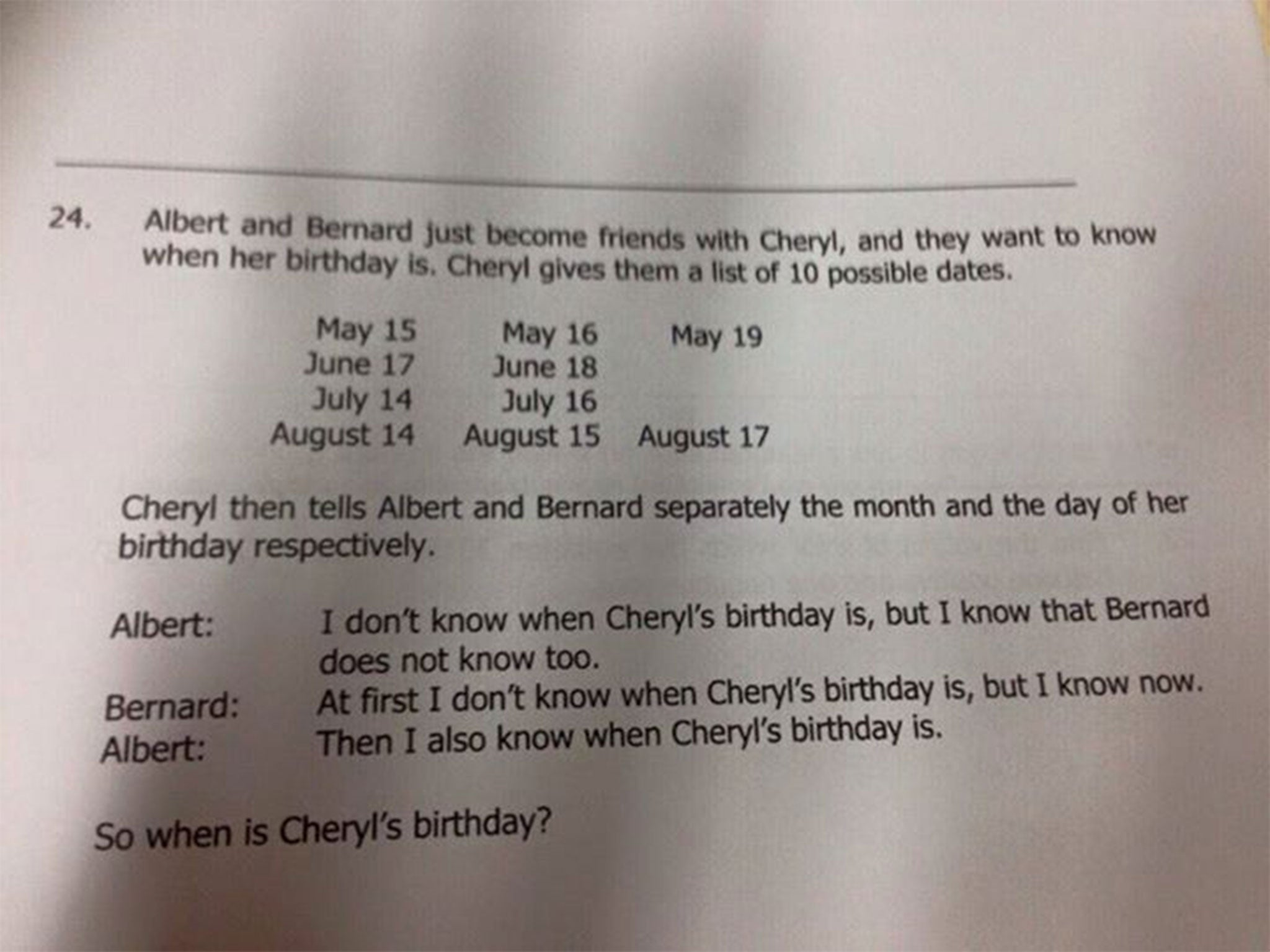 when is cheryl s birthday how to solve the maths problem that has how to solve the maths problem that has stumped the world the