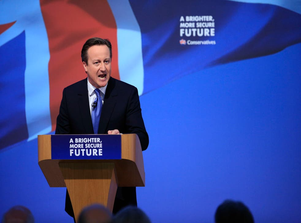 David Cameron unveils the Conservative party manifesto in Swindon (PA)