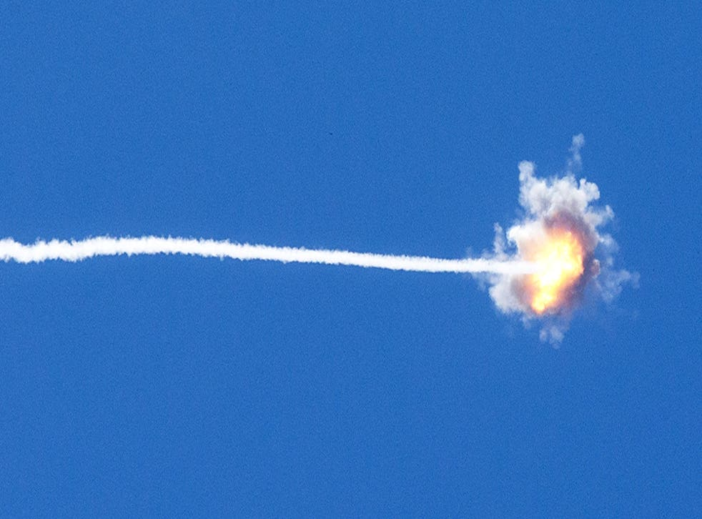 A missile launched by Israel's Iron Dome defence system above the Gaza Strip
