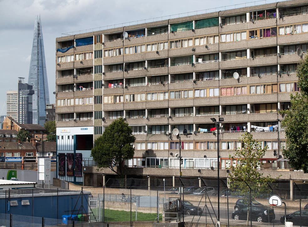 A residential tower block in an area of Southwark with a high concentration of social housing