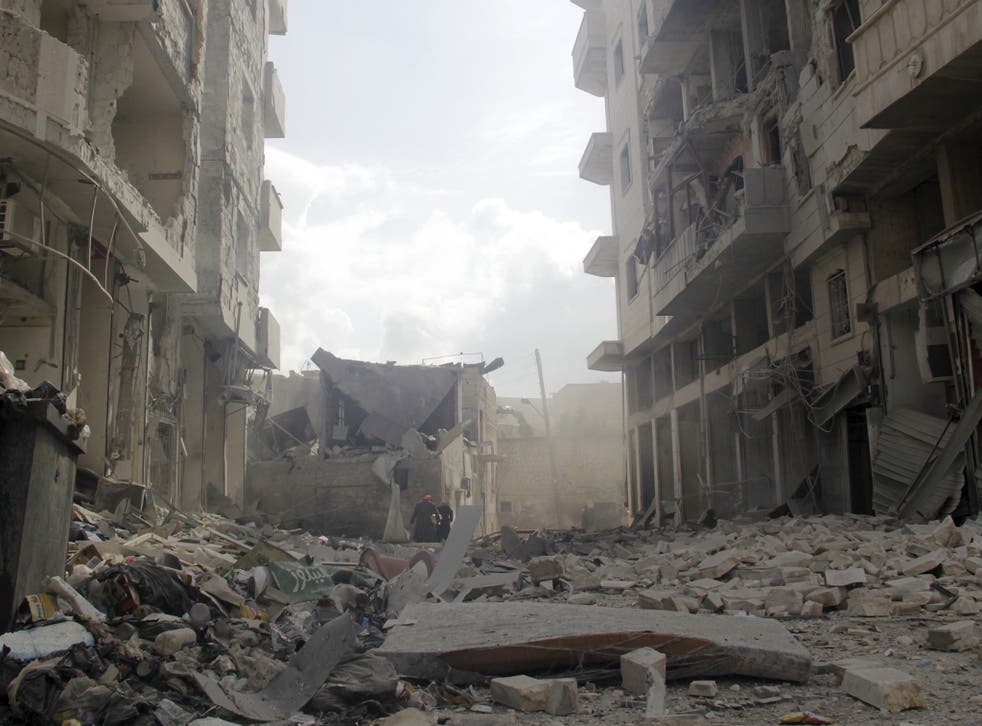 A site hit by what activists said were air strikes by forces of Syria's President Bashar al-Assad in Idlib