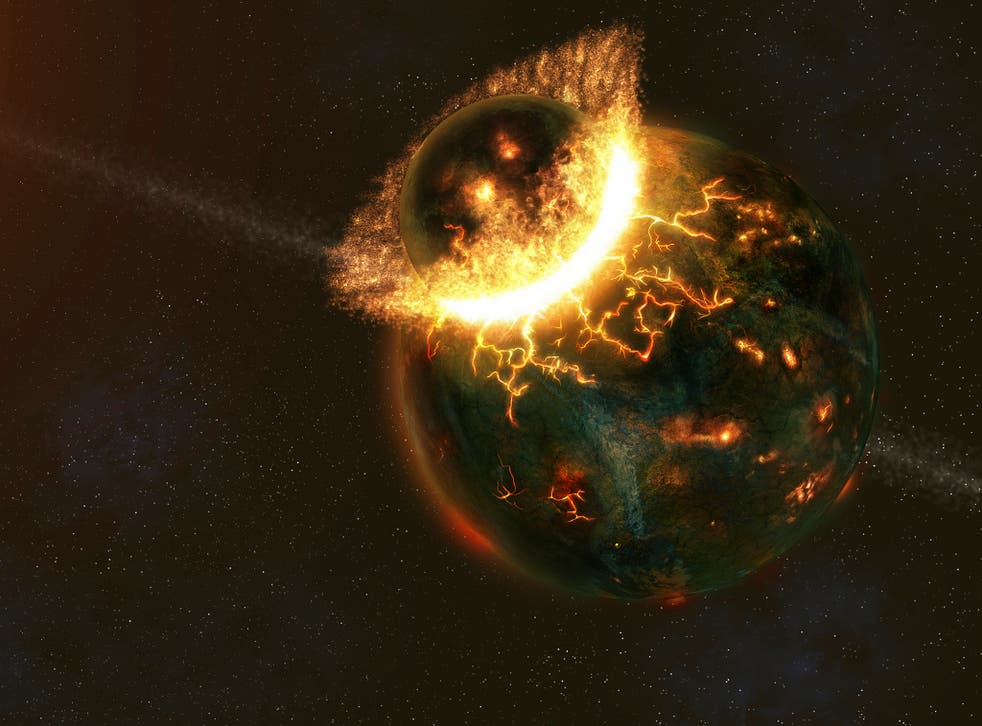 An artist's illustration of an approximately Mercury-sized object slamming into the early proto-Earth. File photo