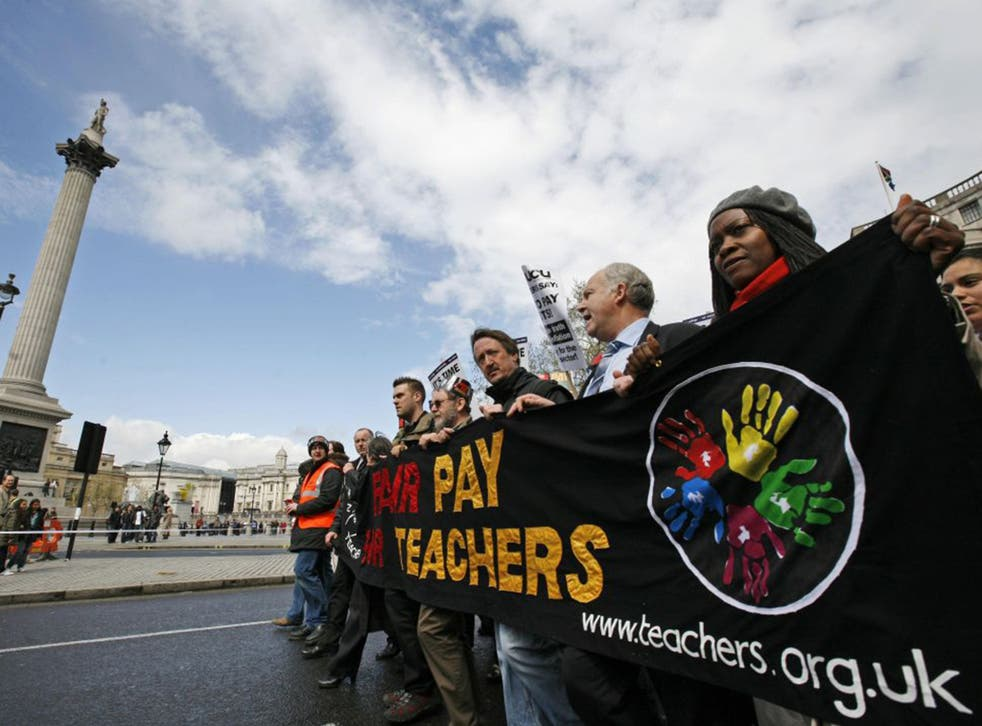 At the chalk face: teachers march through central London during the 2008 teachers' strikes