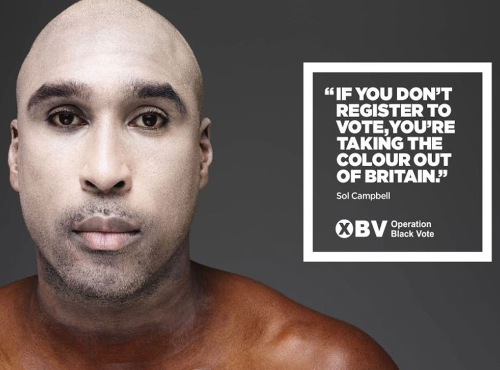 Operation Black Vote of a poster featuring Sol Campbell, one of four black British stars appearing with white faces in a hard-hitting new campaign to encourage minorities to register to vote ahead of the general election.