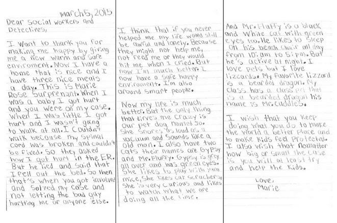 8-year-old survivor of abuse writes inspirational 'thank you