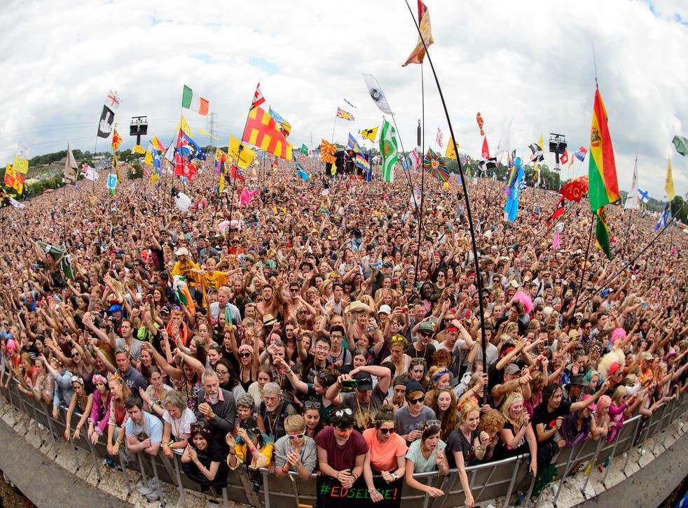 Festival-goers soak up the atmosphere at Glastonbury