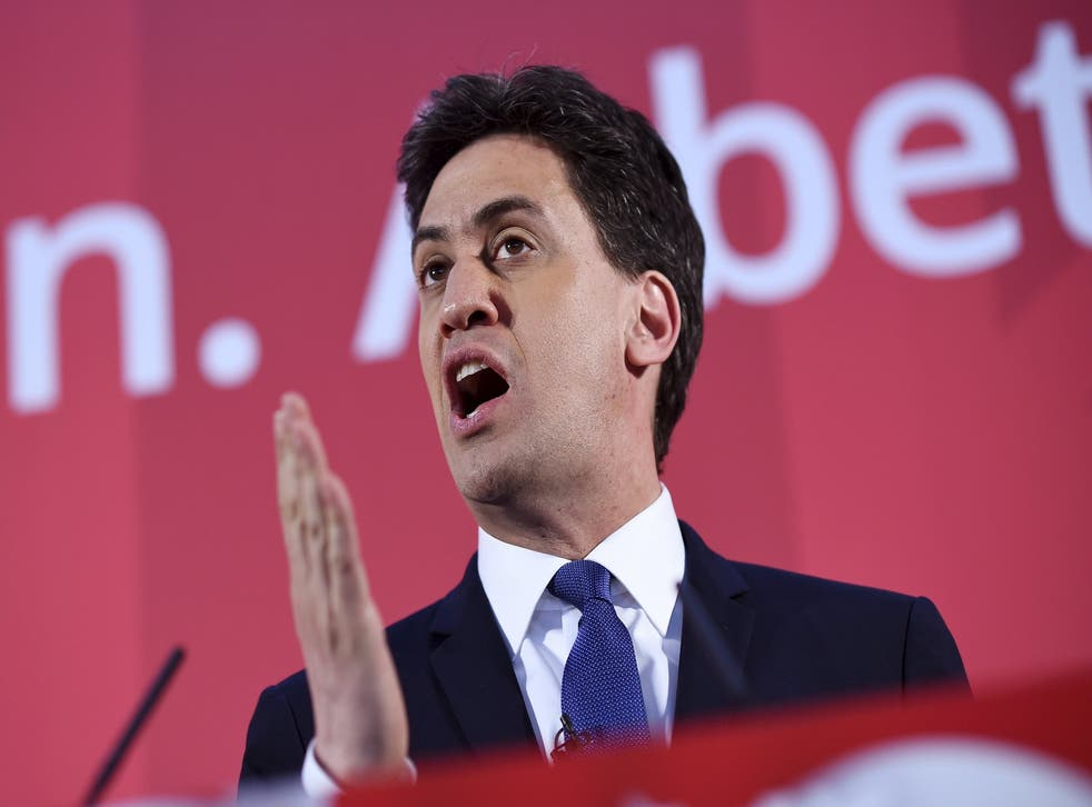 Labour leader Ed Miliband at the launch of his party's Manifesto for Young People at Bishop Grosseteste University in Lincoln