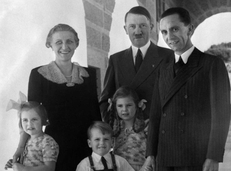 Joseph, Magda and the six Goebbels children with Hitler in 1938