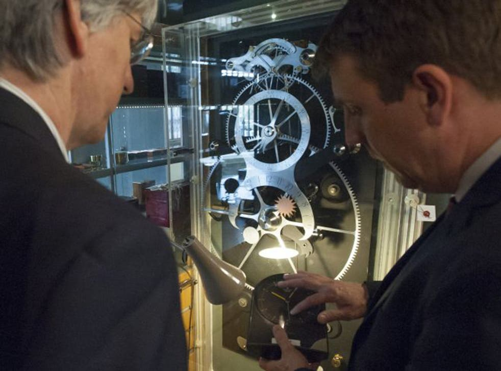 The clock, built from instructions in a book from the 18th century, completes its test