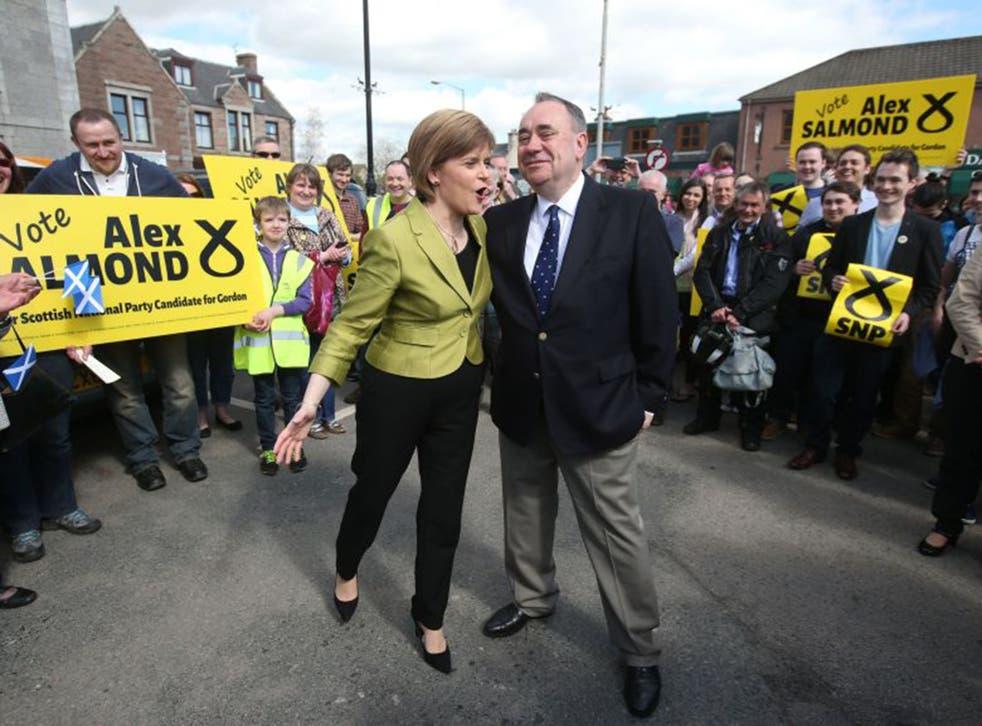 Alex Salmond with Nicola Sturgeon in Gordon