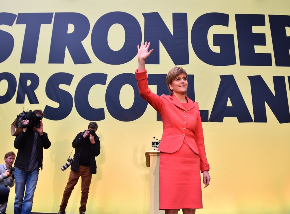 SNP leader Nicola Sturgeon launches the Scottish National Party manifesto at the Edinburgh International Climbing Arena