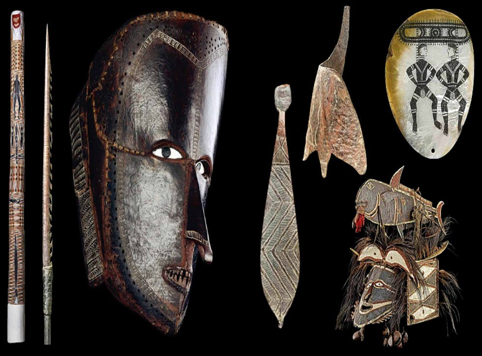 Beyond the mask: exhibits at 'Australia: Enduring Civilisation', including 'Barama', a memorial pole (above left)
