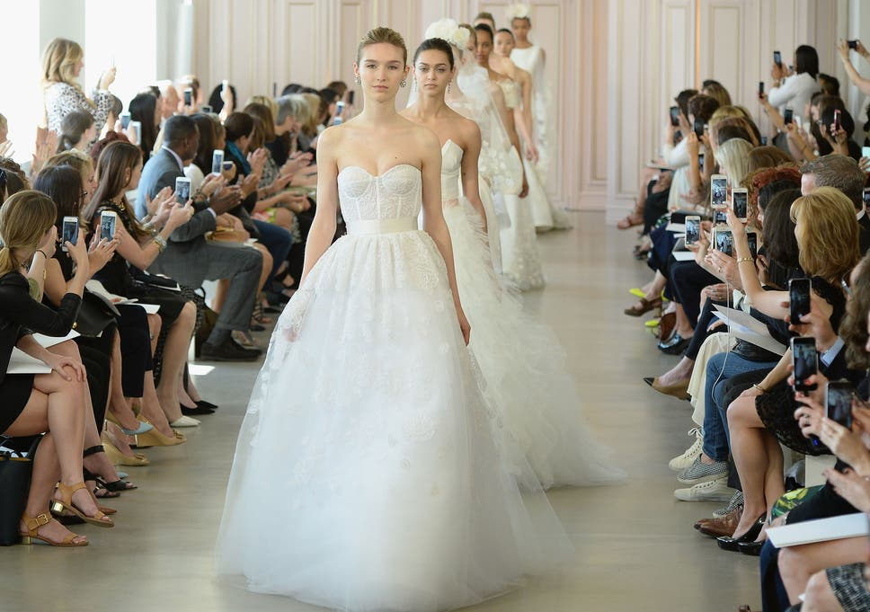 0061d1c91f1d Bridal trends: Tuxedo suits, plunging necklines and short dresses dominate  at New York Bridal Fashion Week