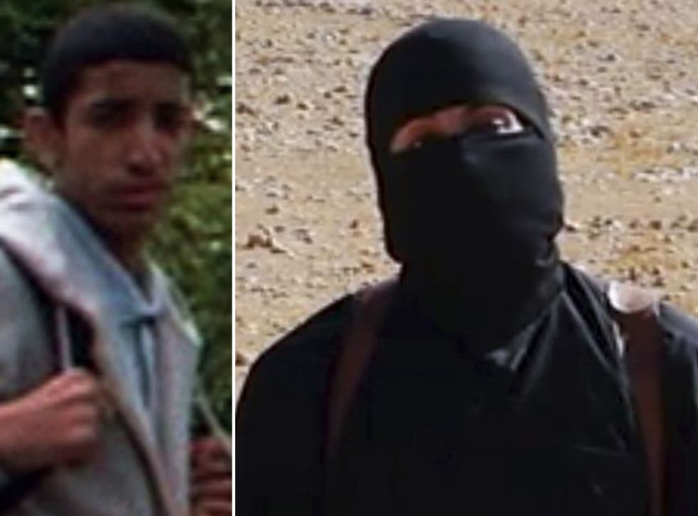 Mohammed Emwazi as a teenager, left, and in his role as Isis murderer