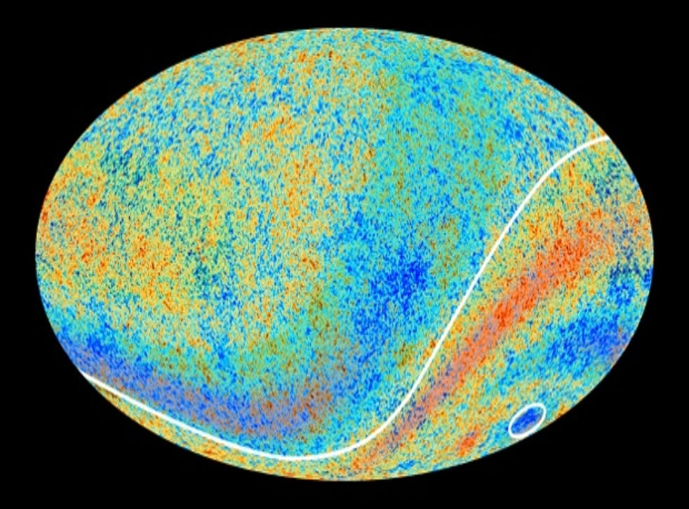 An image from the Planck telescope shows the Cold Spot, circled in white