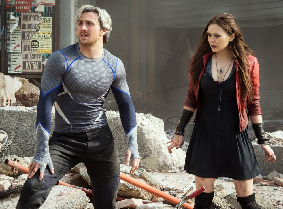 Aaron Taylor-Johnson as Quicksilver and Elizabeth Olsen as Scarlet Witch, in a scene from Avengers: Age Of Ultron