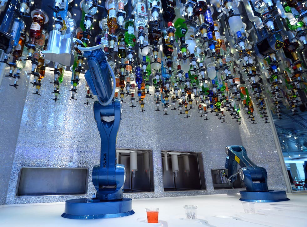 Robots make cocktails, ordered via a tablet in the bionic bar on board Royal Caribbean's latest cruise liner 'The Anthem Of The Seas', a 4,905-passenger ship which is docked in Southampton. The ship is billed as the most technologically advanced cruise ve