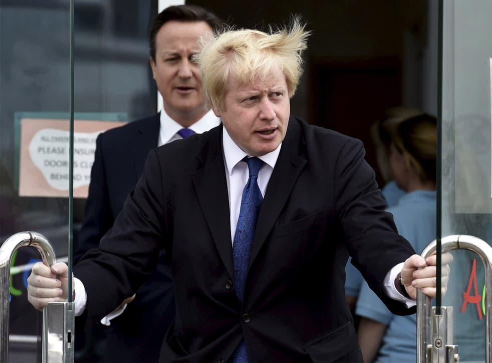David Cameron and Boris Johnson, leaving the Advantage children's daycare nursery in Surbiton