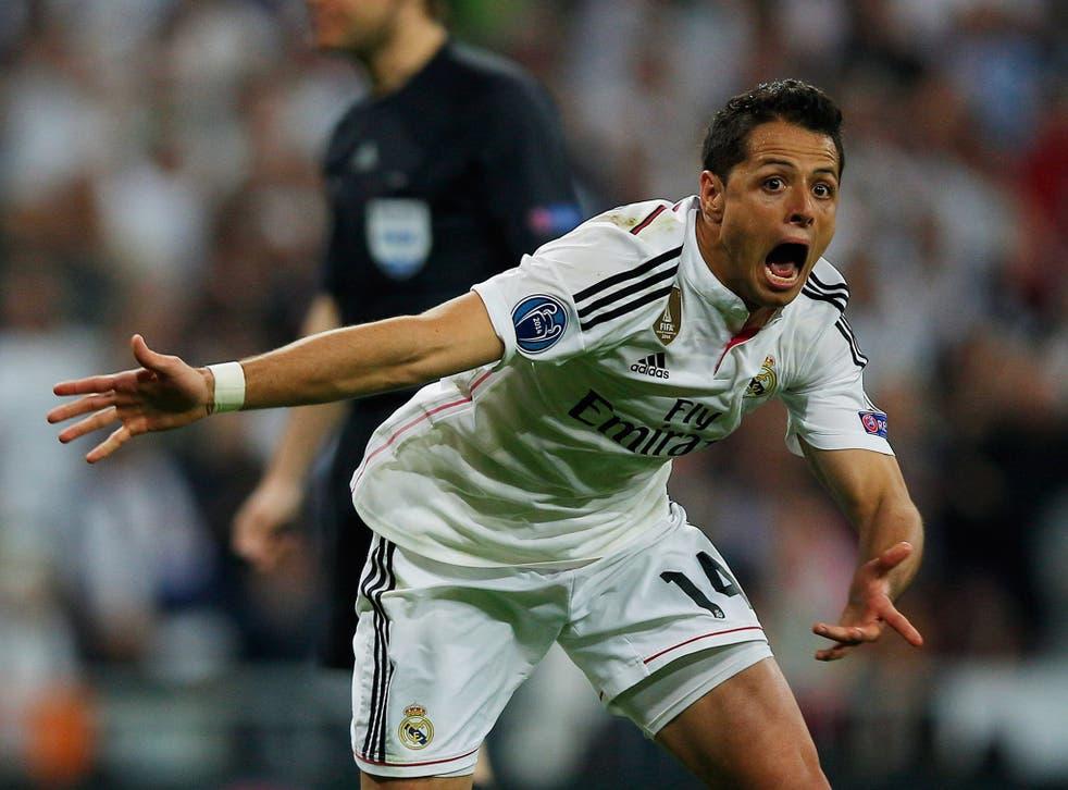 Chicharito celebrates his goal