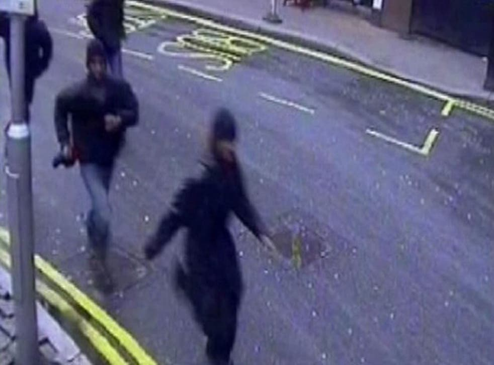 CCTV footage of the group running through Victoria station