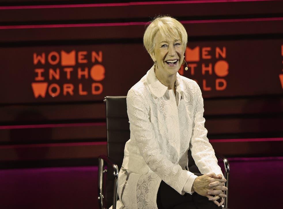 Helen Mirren speaking at the Women Into the World summit in New York
