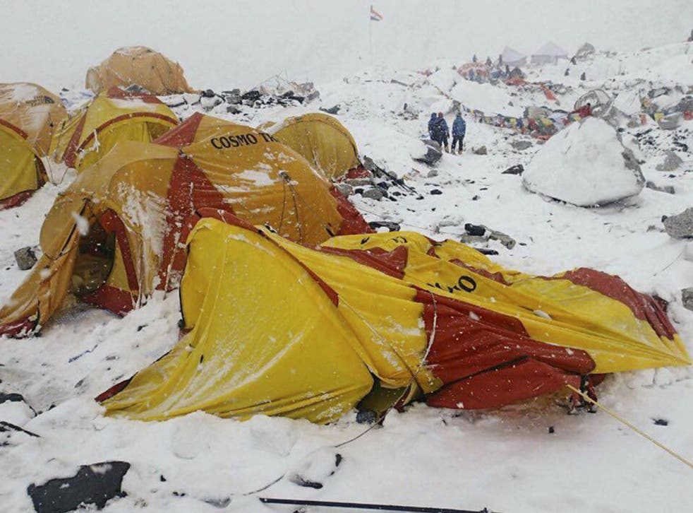 Mount Everest base camp after the avalanche (AP)