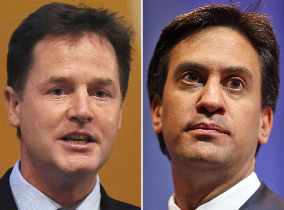 "Nick Clegg has warned Ed Miliband that he would not form a Labour-Lib Dem coalition that relied on any ""life support"" from the SNP (PA/Getty)"