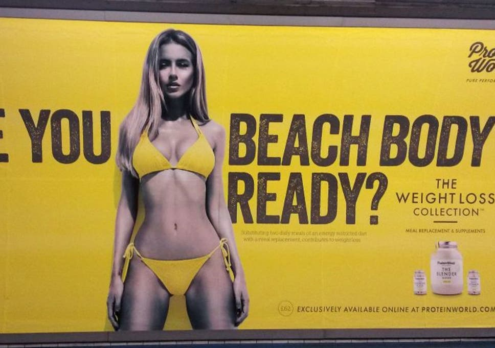 28c7c4bdd A Protein World advert displayed in an underground station in London which  says