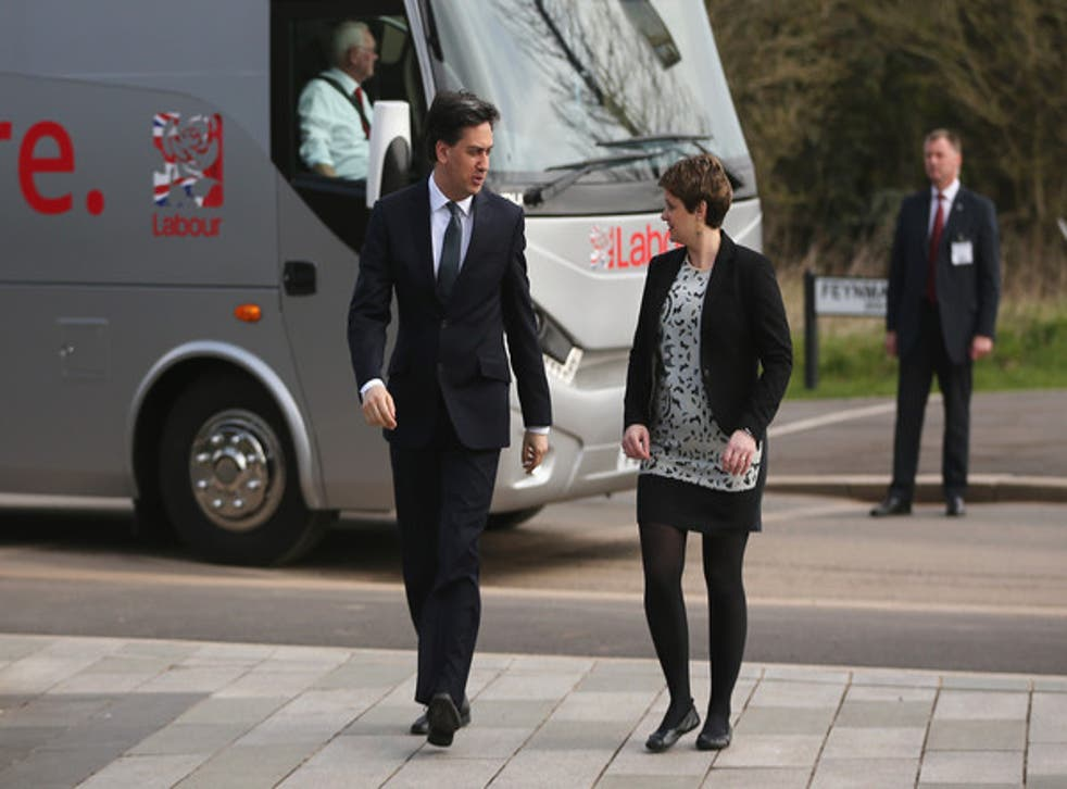 Ed Miliband greets Jo McCarron on a visit to Kingswood during the campaign