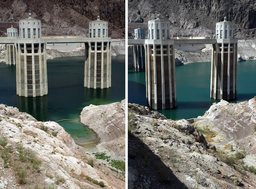 Images show Lake Mead in 2007 and again in 2015.