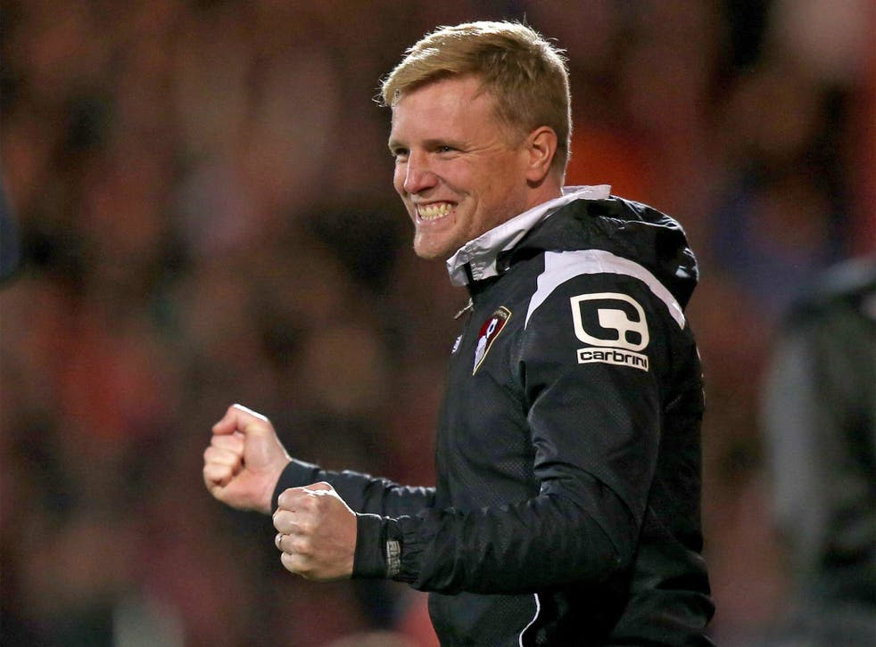 Manager Eddie Howe enjoys the moment Bournemouth clinched promotion