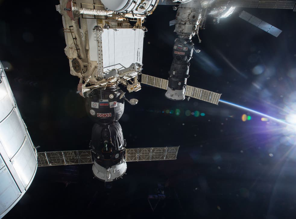 ISS Progress 47 is shown docked at the International Space Station's Pirs docking compartment prior to its departure Saturday, April 25. Progress 59 was scheduled to rendezvous and dock in the same place. Picture: Nasa