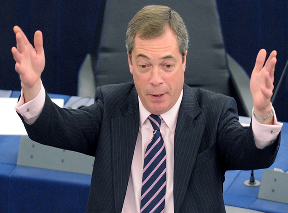 Nigel Farage giving a speech during an earlier sitting of the European Parliament