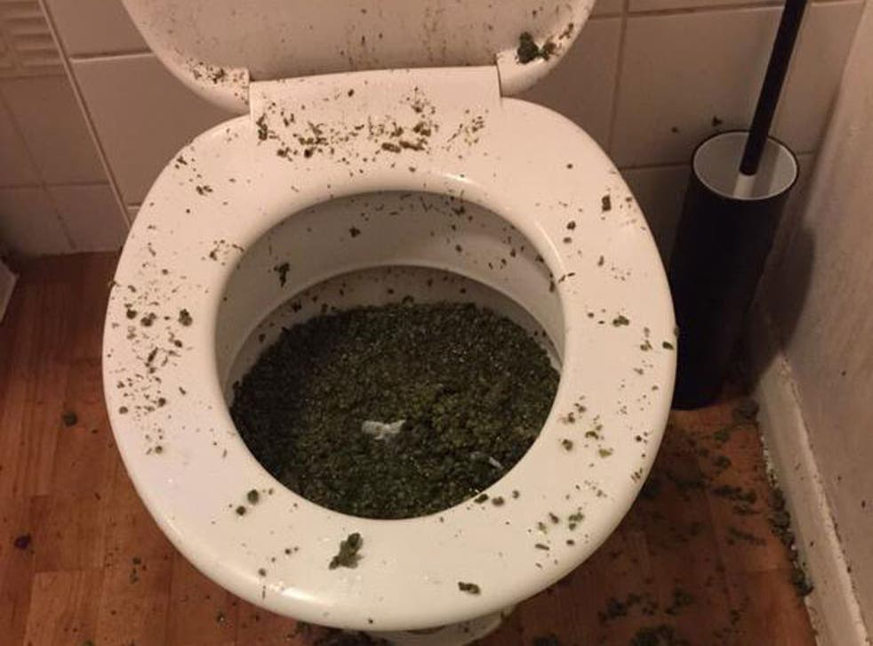 The toilet appears to have overflown due to the amount of drugs that were probably flushed down it